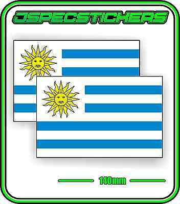URUGUAY FLAG STICKER VINYL DECAL COUNTRY WINDOW BUMPER x2 140mm BNIP