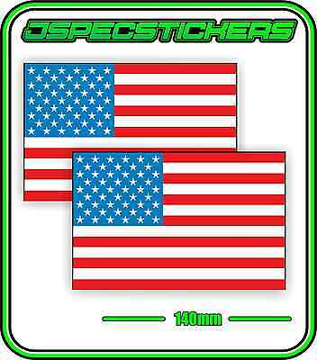 USA AMERICA AMERICAN FLAG STICKER VINYL DECAL COUNTRY WINDOW BUMPER x2 140mm