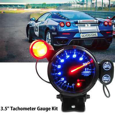 "3.5"" Tachometer Gauge Kit LED Car Meter with Shift Light+Stepping Motor RPM 12V"
