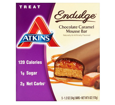 9 Packs-Atkins Endulge Chocolate Caramel Mousse Bar Healthy Snack Food Diet Bars