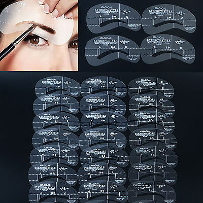24 Eyebrow Shaping Stencil kit brow Grooming DIY Make-Up Template for women