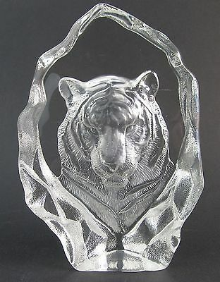 Tiger  3-D Art Glass Crystal Block Sculpture - Clear - Boxed