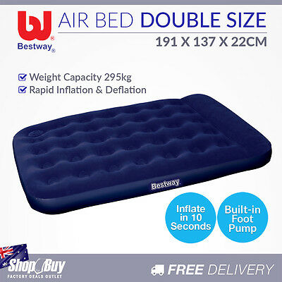 Double Inflatable Air Bed Built-in Foot Pump Flocked Camping Blow Up Mattress