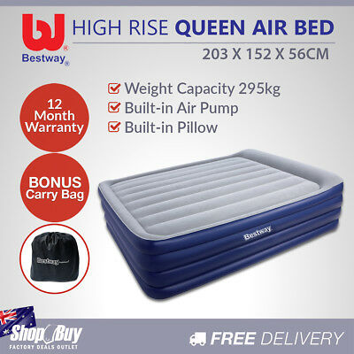 High Rise Queen Inflatable Air Bed Built-in Pump Blow Up Mattress Camping Blue