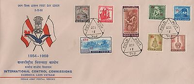 Indian Army Postal Service Cambodia Laos Vietnam Stamps First Day Cover Fdc