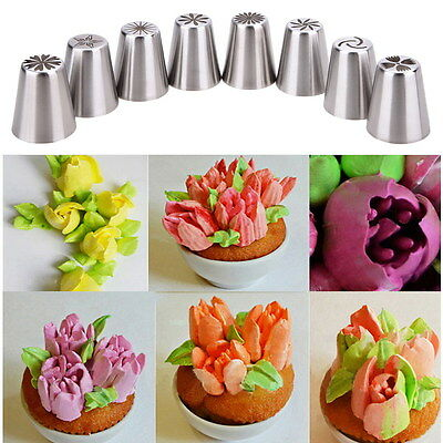 8X Russian Tulip Icing Piping Nozzle Stainless Tips Flower Cake Decorating Tool