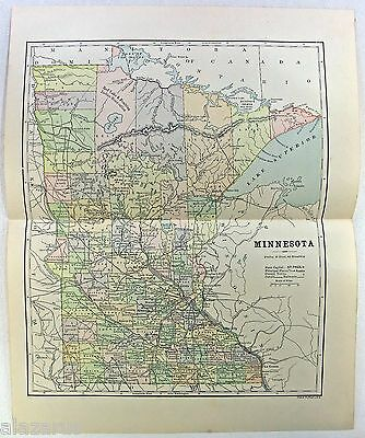 Original 1887 Map of Minnesota by Phillips & Hunt