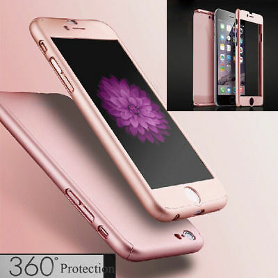 360° Full Body Hybrid Hard Case Cover +Tempered Glass For iPhone 8 6 6s 7 Plus X