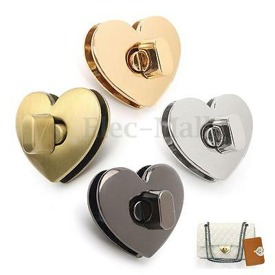 New Heart Shape Clasp Turn Lock Twist Lock Metal Hardware For Handbag Bags Purse