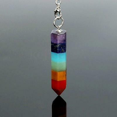 Rainbow Reiki Energy Charged Chakra Natural Crystal Healing Pendant Necklace
