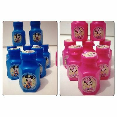 8 x Personalised Baby Mickey Or Minnie Mouse BIRTHDAY PARTY MINI BUBBLE FAVOURS