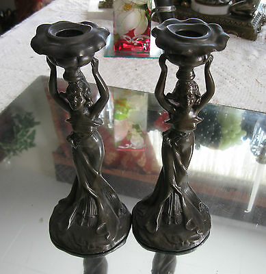 Quality !  Classic Art Nouveau  Antique Pair Of Bronzed Candle Holders