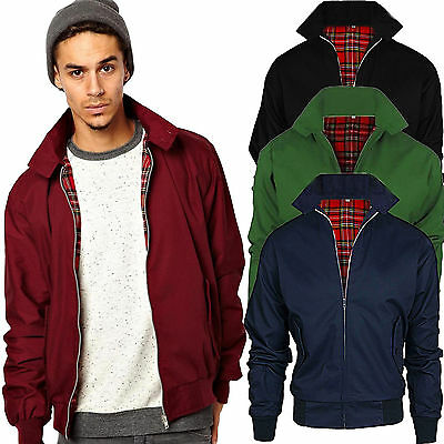 New Mens Classic HARRINGTON Retro Scooter Vintage Bomber Jacket Coat: Size S-2XL