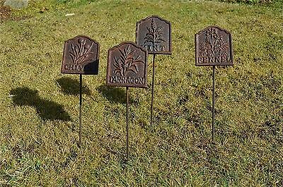 Set of 4 antique style cast iron herb labels garden sign herbs spike marker HL4