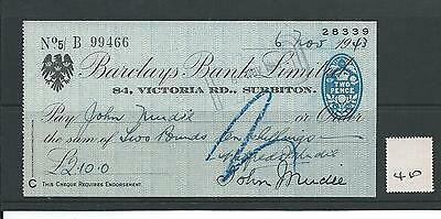 wbc. - CHEQUE - CH410- USED - 1943- BARCLAYS BANK, SURBITON