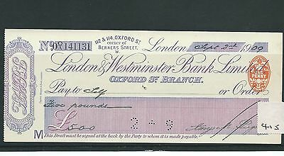 wbc. - CHEQUE - CH415- USED - 1909- LONDON & WESTMINSTER BANK, OXFORD ST.LONDON