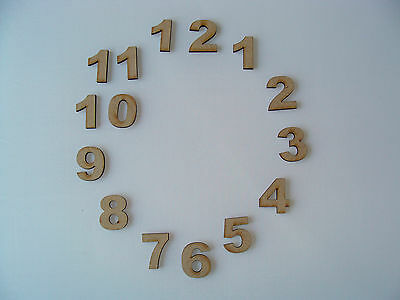 1.5cm Wooden MDF Clock Face Numbers craft shapes blanks various pack sizes