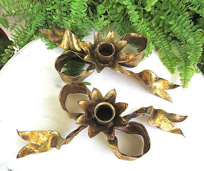 Fabulous Hollywood Regency Italian Gold Tole Figural Bow Candle Holders