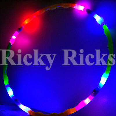 """LED Hula Hoop 30"""" Rave Toy Dance Spinning Lighted Future Light Up Hoop EDC"""