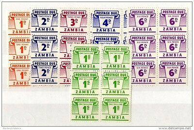 Zambia Postage Dues Blocks of 6 to 1/- Mint MNH X3297