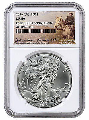2016 1 Oz American Silver Eagle NGC MS69 (Theodore Roosevelt Label) SKU42742
