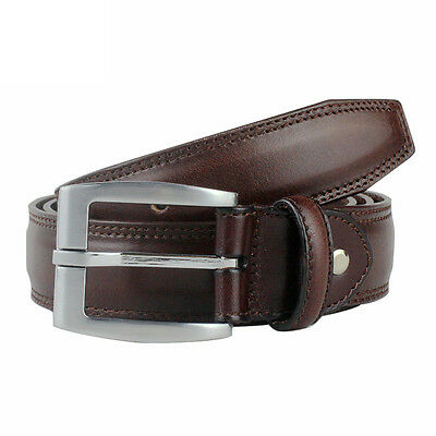 Men's Big & Tall Genuine Leather Belts Brown Casual Jeans Dress Sizes 30-60