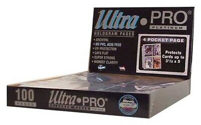 100 Ultra Pro PLATINUM 4 POCKET 3 1/2 x 5 1/4 Photo Postcard Card Album Pages