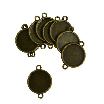 30x Bulk Blank Bezel Base for 20 mm Cabochon DIY Charms Connector Bronze