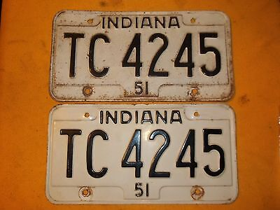 51 Indiana 1951 License Plate Tc 4245