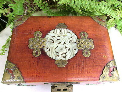 Lovely Chinese Wood Jewelry Box W/ Jade & Brass Medallions