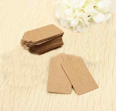 100x Brown Kraft Paper Hang Tags for Wedding Party Favor Punch Label Gift Cards