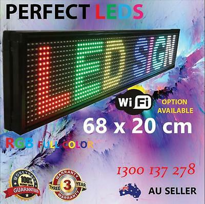 Led Scrolling Rgb Full Color Sign Programmable Messaging Display 68X20Cm