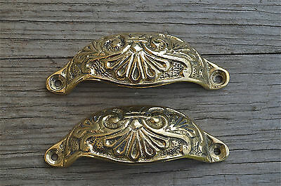 Pair brass Victorian cup drawer handle dresser draw pull handle c/w screws 2003