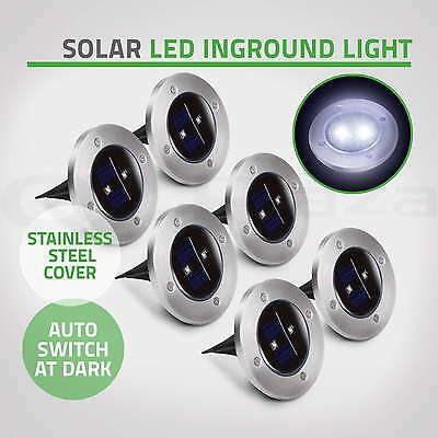 6 x Solar Powered LED Buried Inground Recessed Lights Garden Outdoor Deck Path