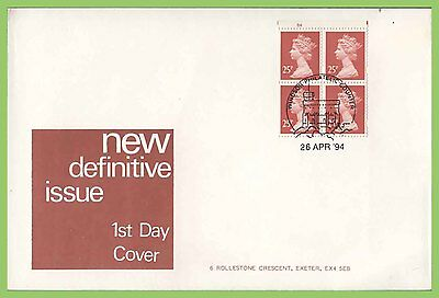 G.B. 1994 £1.00 4 x 25p booklet pane on Exeter First Day Cover, Windsor