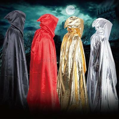 Halloween Hooded Long Cloak Wedding Cape Pagan Witch Wicca Gothic Vampire