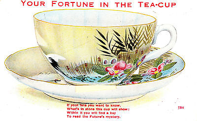 postcard - Valentine's Novelty pull out - Fortune in the tea cup