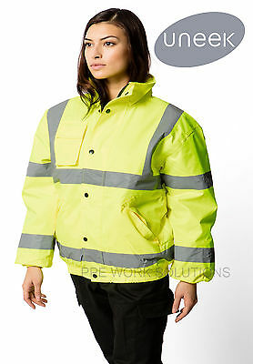Uneek UC804 Hi Visibility Bomber Jacket Winter Warm Reflective High Vis