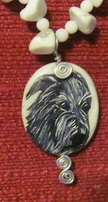 Scottish Deerhound hand painted on wire wrapped pendant/bead/necklace