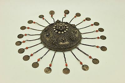 Antique  Perfect Silver Ottoman Islamic Silver Filigre  Bridal Coral  Head Piece