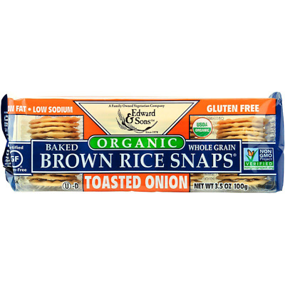 New Edward & Sons Baked Brown Rice Snaps Toasted Onion Fat Sodium Gluten Free