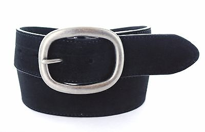 "Women's Black Suede Leather Belt 1-1/2"" wide Size 32"" with Antique Nickle Buckle"