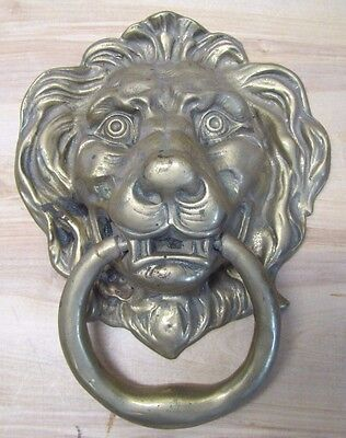 Old Brass Large Figural Lions Head Door Knocker Castle Door Pull Big Hardware