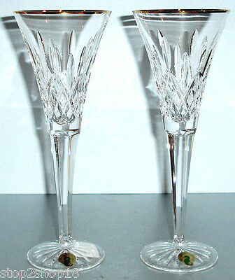 Waterford Lismore Gold Toasting Flute Pair 163706 New In Box