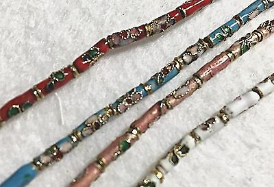 Cloisonne Tube Beads, 4 Colors to Choose From, Approx 43 Beads per Strand