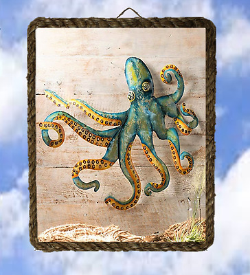 Octopus  Ocean Sea 45 Beach Wall Decor Art Prints Fish lalarry Ventage framed