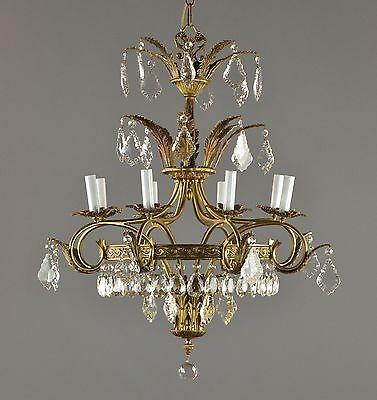 Italian Brass & Crystal Tiered Large Chandelier c1940 Vintage Antique
