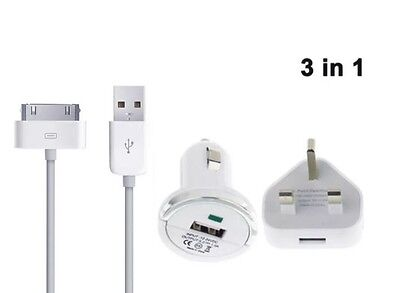 3 in 1 Charge and Sync Cable UK Mains Plug Car Charger for iPhone 4 4S iPad 1 2