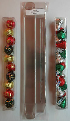 "Crystal Clear Test Tube Treat Boxes 1""x1""x8"" Gumballs,M&M,Party Favors,Wedding"