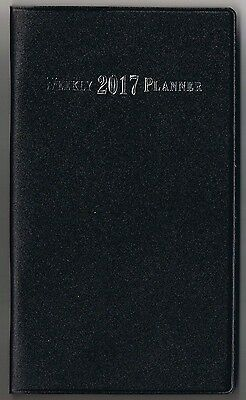 2017 Black Weekly Planner Pocket Calendar Agenda Planner Appointment Book